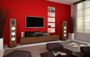 Modern-Red-Living-Room-Interior-Design-Ideas-with-Flat-TV-on-Wall