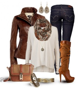 The-Trendy-Outfit-Idea-brown-leather-jacket-white-knit-top-jeans-and-knee-length-boots