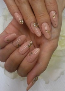 peach-and-stick-on-diamante-glitter-new-years-eve-nail-art