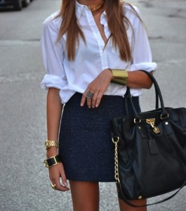 White-Collared-Shirt-Blue-Wool-Skirt-Gold-Jewels-530x600