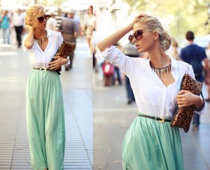 light-blue-long-skirt-outfit-high-heels