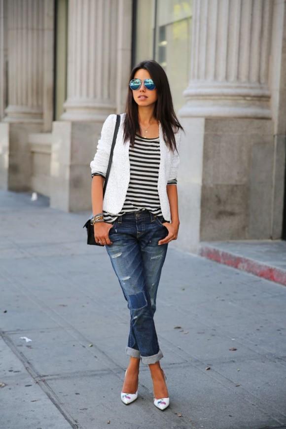 amazingly stylish how to wear boyfriend jeans lifestuffs. Black Bedroom Furniture Sets. Home Design Ideas