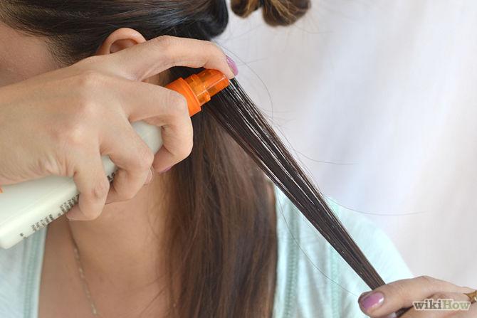 straightening hair with hair spray