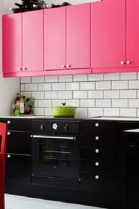 Bright-Cabinets-Pink-and-Black-Kitchen-Home-Design-Modern-How-to-Add-a-Pop-of-Color-to-Your-Kitchen-200x300