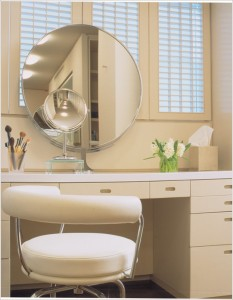 Powder-Room-Contemporary-Chicago-flowers-magnifying-mirror-makeup-area-makeup-brushes-plantation-shutters-round-mirror-stool-tissues-vanity-id-1077