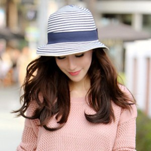 Blue-and-white-stripe-fedoras-bucket-hats-straw-hat-sun-hat-female-summer-sunbonnet-beach-cap